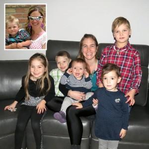 Caroline avec ses neveux:Elliott, Alexis, Emilia, Sofia,Béatrice et Edouard