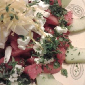 Salade aux deux melons et à la féta.